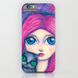 Big eyes girl with pink hair and her cat compangnon iPhone Case