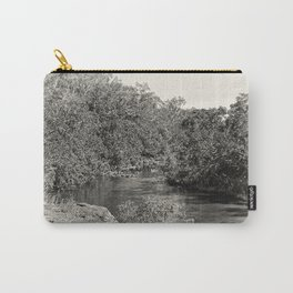 Black and white study of a tranquil river Carry-All Pouch