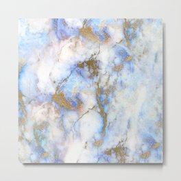 Aqua, Angel Wings, & Alabaster Marble With Gold Veins Metal Print