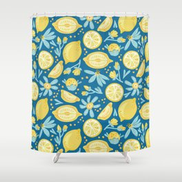 Lemon Pattern Blue Shower Curtain