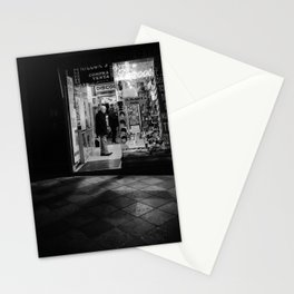 Streets of Madrid - Late Night Shopping BW Stationery Cards