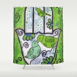 Hamsa with Birds by Flor Larios Shower Curtain