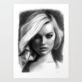 Margot Robbie Pencil Sketch Art Print
