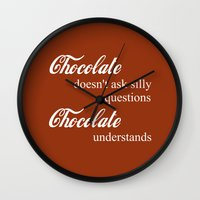 chocolate Wall Clocks featuring Chocolate by DuniStudioDesign