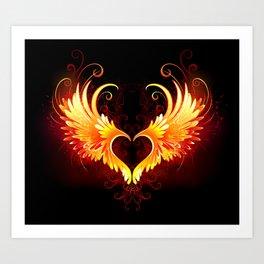 Angel Fire Heart with Wings Art Print