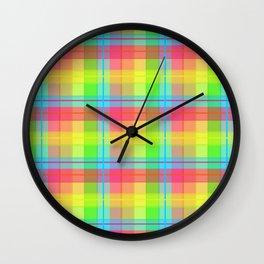 Rainbow Plaid Wall Clock