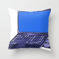 laptop Throw Pillows featuring  Laptop  by Sofia Youshi