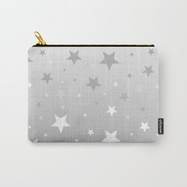 Scattered Stars Ombre Pale Silver Gray to White Carry-All Pouch