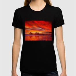 Orange Reflection At Low Tide Huntington Beach Pier T-shirt