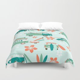 Vintage Beetles Surfing Hawaii Duvet Cover
