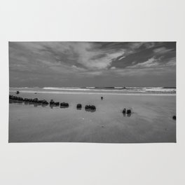 Exposed driftwood structure on Assateague Island (black and white) Rug