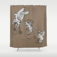 steam punk Shower Curtains featuring Steam Punk Pets by Rebecca Pocai