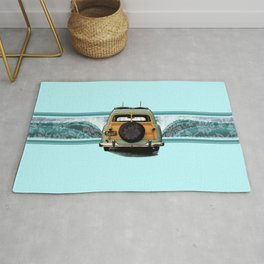 Woody Wave Hawaiian Surf Illustration  Rug