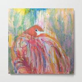 Flamingo Splash Metal Print