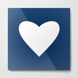 Navy Blue Heart Metal Print