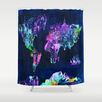map of the world Shower Curtains featuring world map by Bekim ART