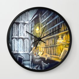 Hermione studying in the library Wall Clock