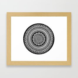 Black and White Radial Mandala Illustration Framed Art Print