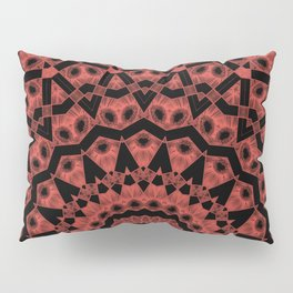 Orange black mandala 2 Pillow Sham