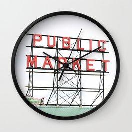 Public Market Seattle Pike Street Fish Neon Sign Northwest Washington Wall Clock