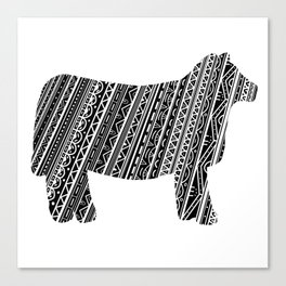 Mandala Heifer Cow Silhouette Canvas Print