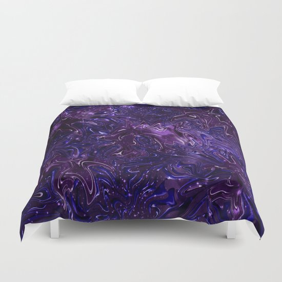 The Wolves Hidden in the Royal Purple Galaxy Duvet Cover
