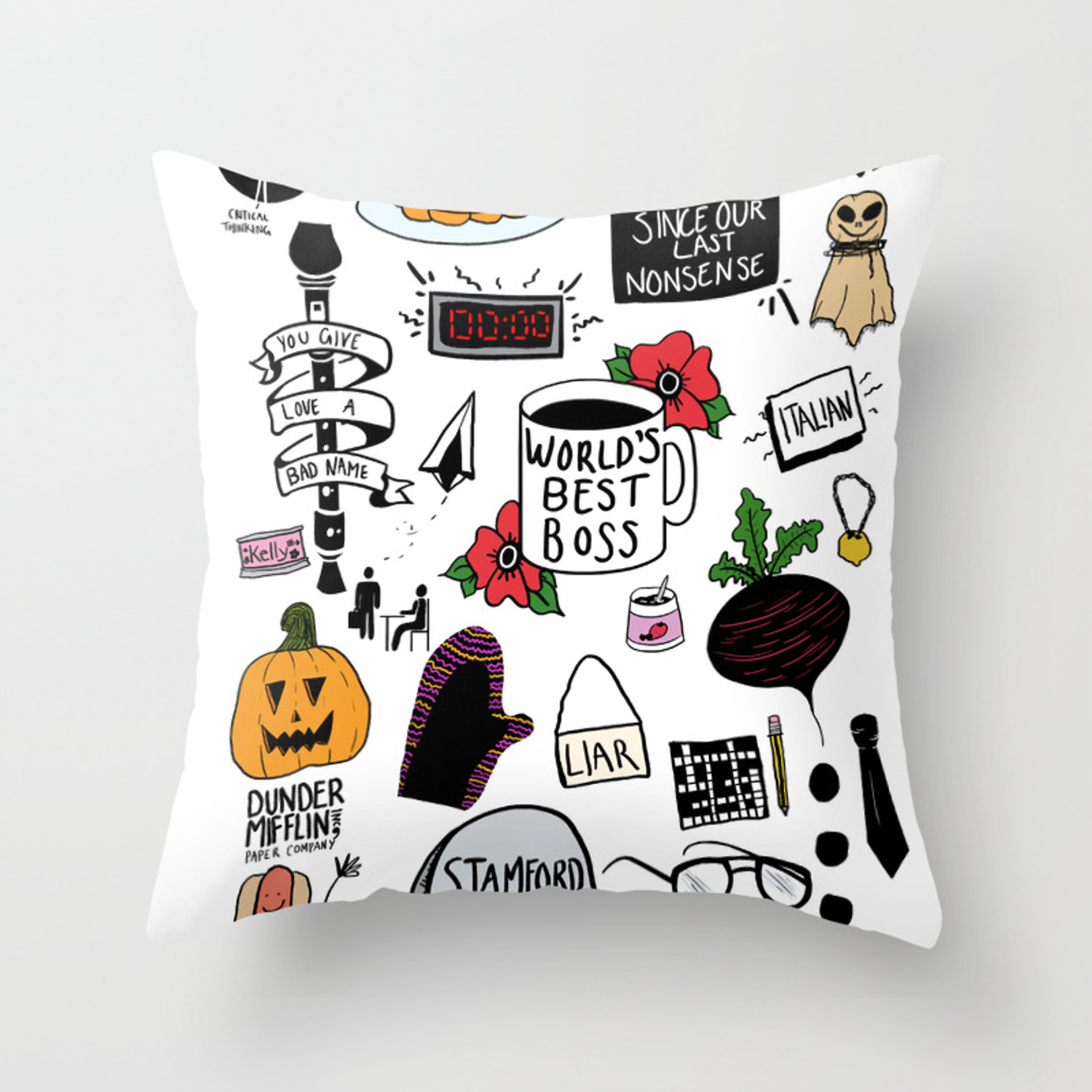 the office doodles throw pillow by wiltingbloom