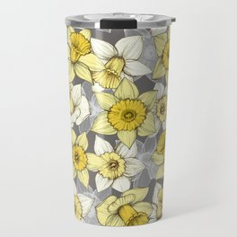 Daffodil Daze - yellow & grey daffodil illustration pattern Travel Mug
