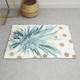 Pineapple crown - gold confetti Rug