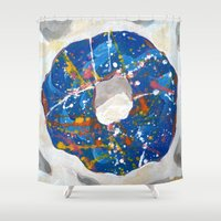 doughnut Shower Curtains featuring Decorated Doughnut by Max Rowe Art