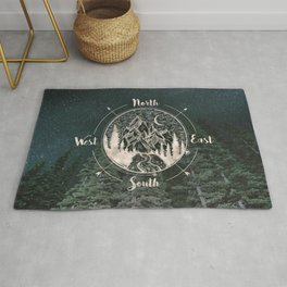 Mountains Compass Milky Way Woods Gold Rug