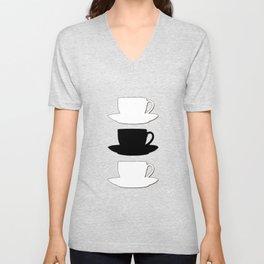 Retro Coffee Print - Black & White Cups on Burnished Orange Background Unisex V-Neck