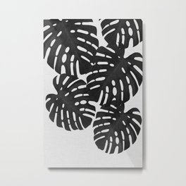 Monstera Black & White II Metal Print