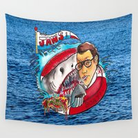 jaws Wall Tapestries featuring Jaws  by Christopher Chouinard