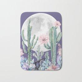 Desert Cactus Full Moon Succulent Garden on Purple Bath Mat