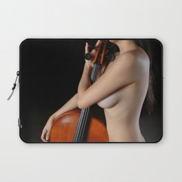 0205-JC Nude Cellist with Her Cello and Bow Naked Young Woman Musician Art Sexy Erotic Sweet Sensual Laptop Sleeve