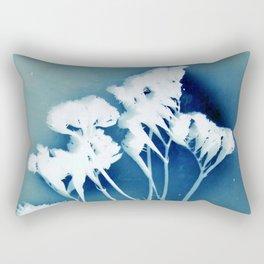Blue Strawflower Rectangular Pillow