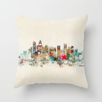 north carolina Throw Pillows featuring charlotte city north carolina by bri.buckley