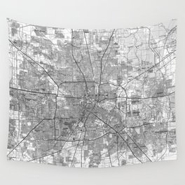 Houston Texas Map (1992) BW Wall Tapestry