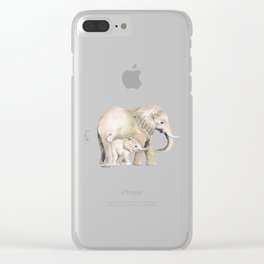 Mom and Baby Elephant 2 Clear iPhone Case