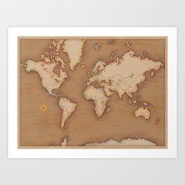 Classic world map Art Print