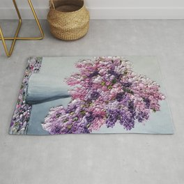 Pretty in Pink and Purple Hydrangeas on White Rug