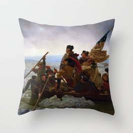 Washington Crossing the Delaware Painting Throw Pillow