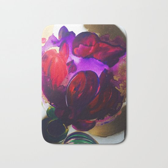 Purple and Gold Poppies Maybe? Bath Mat