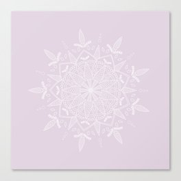 White Vector Mandala on Light Purple Canvas Print
