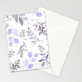 Modern lilac lavender gray watercolor floral leaves Stationery Cards
