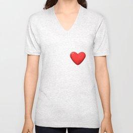 three-dimensional model of the heart valentines Unisex V-Neck