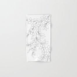 Minimal Wild Roses Line Art Hand & Bath Towel