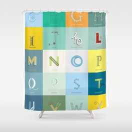 Sustainability Alphabet Shower Curtain