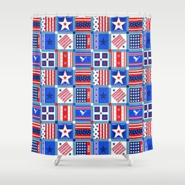 4th July Patchwork Shower Curtain